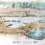 Geysers in Back Basin of Yellowstone - almost a disaster when the white pen exploded due to altitude changes, but somewhat appropriate for a geyser 😜#watercolor #sketch #pleinair #yellowstonenationalpark thumbnail
