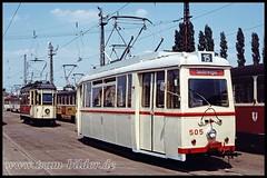 H505-1992-06-28-1-Betriebshof Freiimfelder Straße (steffenhege) Tags: hallesaale tram strasenbahn historischertriebwagen lowa 505