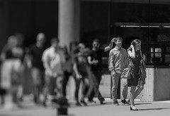 Office People Marching (Jovan Jimenez) Tags: office people marching bokeh monochrome monochromatic black white gray girl nikon series e eseries lens seriese 100mm f28 alpha sony ilce 6500 a6500 fmount emount downtown chicago west loop kipon tilt shift adapter tiltshift miniature vintage manual focus optical