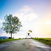 Happy man! (Zeeyolq Photography) Tags: france jura selfy road tree umbrella sky sunset happy jump lesrousses