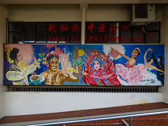 Zhao Heqing TCM Clinic (Steve Taylor (Photography)) Tags: quekserchoon zhaoheqingtcmclinic ballerina dance fish costume chinese lantern indian art graffiti mural streetart railing steps stairs colourful asia city singapore