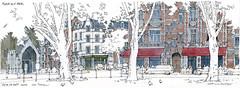 Liège, place de l'Yser (gerard michel) Tags: belgium liège place architecture croquis sketch aquarelle watercolour