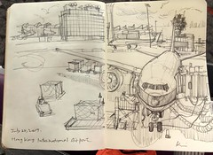 at Hong Kong international airport (kumi matsukawa) Tags: uskchicago2017 sketch symposium airport airplane