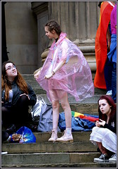 Fetish or what? (* RICHARD M (Over 6 million views)) Tags: street candid portraits portraiture streetportraits streetportraiture candidportraits candidportraiture liverpoolpride stgeorgeshall steps girlsgirlfriends pals teenagers teens teenies plastic plasticmack plasticmac polyethylene polythene seethrough seethroughclothing wierd wtf summer summertime july liverpool merseyside liverpudlians merseysiders scousers girlsjustwannahavefun fun smiles lol miniskirts boots