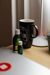 Drink lots of water (bady_qb) Tags: design mac setup laptop desk mug typography obh medicine sick explore 50mm canon a7ii sony sonyalpha drink