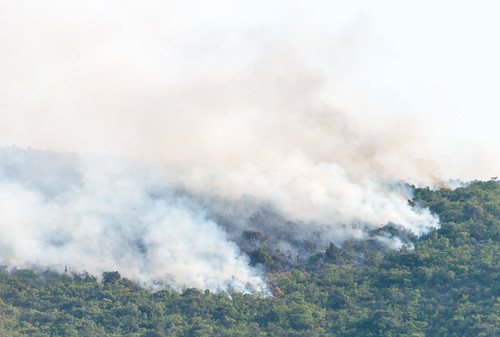 Forest fires on hills around Bay of Kotor, Montenegro, July 2017