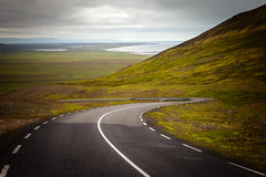 Þjóðvegur 1 (Jack Landau) Tags: þjóðvegur 1 hringvegur ring road route highway iceland switchback descent mountain nature landscape lanes dotted line clouds ocean coast jack landau