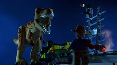 Jurassic Park: T. Rex Paddock Breakout (L-DI-EGO) Tags: lego jurassic park dinosaur ideas cuusoo film toy collectable movie ford explorer bathroom toilet gates tyrannosaurus rex car fence flare chaos