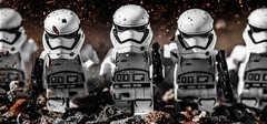 First Order Charge! (Lego_LUTs) Tags: yellow purple green blue storm trooper star wars war lego outdoors clone troopers first order blasters afol minifigs minifigures bricks blocks canon toy toys force legos t3i republic people photoadd atst death rogue one dirt practical effects orange 60mm