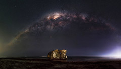 Milky Way Setting Over Two Rocks, Western Australia (inefekt69) Tags: milky way tworocks beach ocean westernaustralia australia great rift panorama stitched ptgui landscape wide astrophotography astronomy stars galaxy milkyway galactic core space night nightphotography nikon 50mm d5500 dslr long exposure perth southern southernhemisphere cosmos cosmology outdoor sky landscapeastrophotography mosaic hoyaredintensifier didymium mist fog explore explored