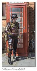 Steampunk Phonebox (Paul Simpson Photography) Tags: paulsimpsonphotography sonya77 sonyphotography imagesof imageof photosof photoof lincoln steampunk steampunks costume dressingup makeup telephonebox august asylum steampunkasylum lincolnshire phonebox redbox august2017 steampunkweekend portrait streetphotography