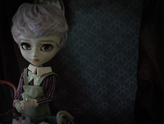 Almost done... (The Migratory Dreamery) Tags: pullip custompullip customisul kikichrysanthemum ooakdoll raffaello therosegolds bakery baker dessert cake cream strawberries rement miniatures cooking kitchen victorian dark tale family story mystery misfortune sweet confectionery littleboy noble dolls toys dollphotography toyphotography art