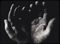 Working Class Hero-11278 (Poetic Medium) Tags: shadows stilllife blackandwhite kitcamghostbird snapseed hands ipod