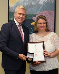 NEWFOUNDLAND AND LABRADOR/TERRE-NEUVE-ET-LABRADOR: Award recipient/lauréate Rosalie Simon with/avec Premier/premier ministre Dwight Ball