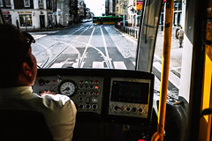 Back Seat Driver (ewitsoe) Tags: tram driver cab train streetcar street city urban ewitsoe erikwitsoe poznan poland mpk transit driving fujifilm x100f window fuji 24mm exit europe man