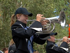 Blow Your Horn (swong95765) Tags: girl highschool instrument horn band parade blonde female lady musician marching
