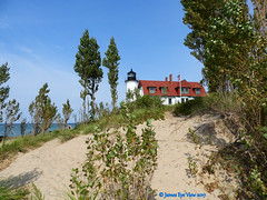 Point Betsie Light (JamesEyeViewPhotography) Tags: michigan summer lighthouse beach sky sand trees water lake landscape northernmichigan lakemichigan pointbetsie jameseyeviewphotography