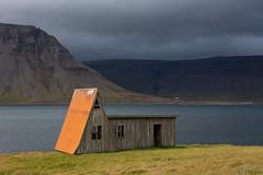 Orange Hut, Fossfjörður (Sophie Carr Photography) Tags: orange orangehut iceland westfjords remote fjord beautifulview landscape outofthisworld roadtrip fossfjordur