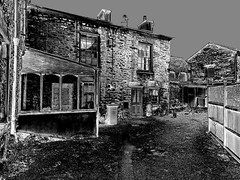 Back yard (Snapshooter46) Tags: backyard stonebuildings kirkbylonsdale cumbria monochrome blackandwhite photosketch