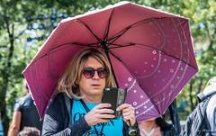 2017 - Montreal - Fetish Weekend - 4 of 5 (Ted's photos - For Me & You) Tags: 2017 canada cropped montreal nikon nikond750 nikonfx tedmcgrath tedsphotos vignetting quebec montrealquebec umbrella cellphone photographer bokeh female sunglasses reflection
