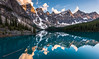 Be Still (inkasinclair) Tags: canada moraine lake reflection water sunset sun setting clouds sky peaks mountains ten snow clear trees confiers banff louise day log tree lookout rockpile travel landscape nature photography nikon d810 still illuminated