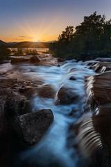 Innhavet sunset (strupert) Tags: polarizer lee nikon sunset summer stream waterfall midnightsun norway nordland innhavet