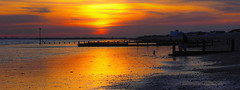 Solent Sunset (fstop186) Tags: sunset solent goldenhour red gold blue sky beach sea water pastel magenta soft dreamy focus panoramic landscape seascape sand wet reflections cloud warm lowtide