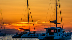 Sunset..... (Photo_hobbyist) Tags: aigina island sunset boats water sea travel vacations yellow greece seascape