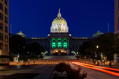 Harrisburg Capitol Building (Barry Cruver) Tags: cruverphotography dauphincounty harrisburg locations nikon pa pennsylvania architecturalphotography architecture building capitol capitolbuilding landscape landscapephotography lighttrail longexposure night urbanphotography wwwcruverphotographycom
