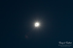 Wide angle view of the sky and the eclipsed sun