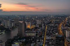Before sunset at bangkok (Flutechill) Tags: cityscape urbanskyline night skyscraper architecture asia downtowndistrict famousplace bangkok urbanscene dusk traffic city sunset tokyoprefecture aerialview tower street business thailand