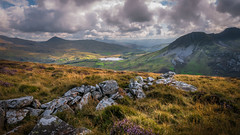 Mountain high ... (Einir Wyn Leigh) Tags: landscape mountains wales flora contrast colorful walking snowdonia cymru lake water range nature clouds exposure nikon stones rocks heather scenic outside uk august summer