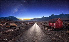 Far away (Jean-Michel Priaux) Tags: paysage landscape nature road ontheroad house littlehouse anotherworld milkyway stars sky terrific red light line night desert désert photoshop painting paint paintingmatte paintmapping scary scare lonesome lonely alone sunset midnight