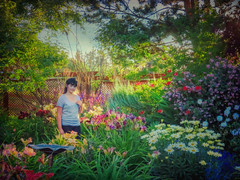 The Flower Girl (Colormaniac too - slowly catching up) Tags: flowergirl girl flowers garden summer colorful outside nature landscape sequim olympicpeninsula washingtonstate pacificnorthwest topazimpression topaztextureeffects