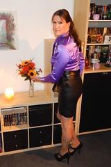 Purple tie (Rikky_Satin) Tags: silk satin blouse tie leather skirt highheels pumps crossdresser crossdressing transvestite transgender tranny tgirl sissy secretary office