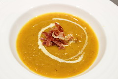 Pumpkin and pancetta soup