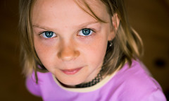 Blue eyes cute girl (sirenajing) Tags: girl girlie mädchen cute cutie small young portrait kids children closeup from above blue eyes blonde caucasian stare bokeh canon 50mm
