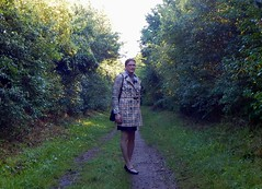 Outdoor Fun (Rikky_Satin) Tags: silk satin blouse scarf pencil skirt pvc vinyl trenchcoat raincoat pumps handbag crossdressing mtf m2f crossdresser transvestite transgender tv cd tgirl tranny sissy secretary office fashion apparel feminization