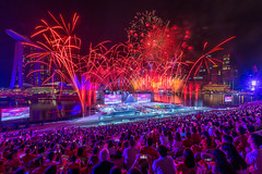 National Day Parade 2017 (BP Chua) Tags: fireworks ndp2017 sg52 singapore nationalday people audience crowd stage floating platform marinabay marinabaysingapore marinabaysg night canon 1dx wideangle bulb asia rehearsal onenationtogether red
