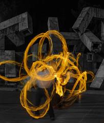 Fire triplets.jpg (Darren Berg) Tags: fire dancer long exposure longexposure motion apocalypse flames selective selectivecolor square swirl circle orange yellow