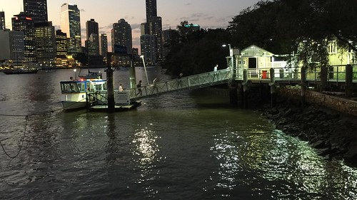Thornton Street Ferry Terminal at dusk, Brisbane, Queensland