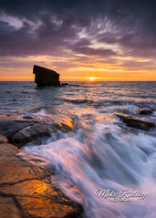 The rock ... (Mike Ridley.) Tags: charliesgarden seatonsluice sunrise nature dawn seascape waves redsky red orange mikeridley sonya7r2 sonyfe1635f4 leefilters collywellbay