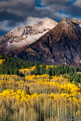 An Autumn Dusting (rosacruzjl) Tags: aspen autumn colorado crestedbutte fall gunnison keblerpass blue cloud country drama dramatic forest gold green landscape leaf leaves mountain nature outdoors peak pine rural scenery scenic season sky snow tree weather yellow