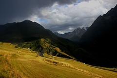 lumière sur le Lautaret ( Light on the lautaret) (pileath) Tags: mountains montagne col du lautaret champs fields golden hours sun soleil nuages clouds disurturbing inquiétant