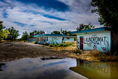 Love don't live here any more (Geoff Eccles) Tags: ruined crowagency abandoned laundromat disused hotelcamp hotel spooky reflection motel graffiti montana scary boardedup old