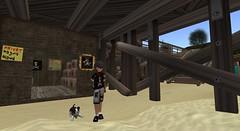 Secret pirate hideout (Sam-Ermintrood) Tags: boy child hideout pirate secret beach pier hut sea sand sharks makebelieve adventure pretend play sword wooden skull crossbones eyepatch puppy dog