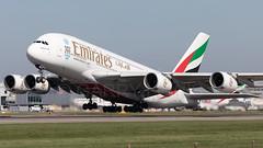 Emirates Airbus A380-800 A6-EDS (atcogl - ATC @ YYZ) Tags: lhr egll heathrow london uk britain middlesex unitedkingdom greatbritain aircraft airliner airplane plane aeroplane aviation avion flugzeug widebody super airbus a380 a380800 a388 canon eos 5dmarkiv 100400f4556lismarkii quad takeoff rotation rotate ek uae emirates a6eds