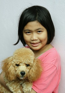 pretty girl with her golden poodle