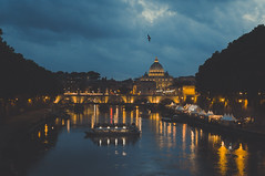 Tiber at Dusk (v2) (Rory Holmes) Tags: tiber river rome dusk italy europe travel night dark water reflections sky clouds bird peters basilica vatican nikon 5200 35mm warm lights evening lowlight landscape cityscape city capital outside bridge church d5200 f18 architecture roma markets skyline trees cruise tevere