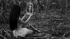 Steffi 3 (xfoTOkex) Tags: portrait women girl mirror field corn cornfield black white monochrome dress long hair nikon d800